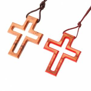 Wooden cross pendants: Traditional fretwork cross