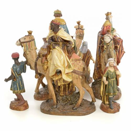 Tre Re Magi a cammello 20 cm pasta di legno dec. extra s4