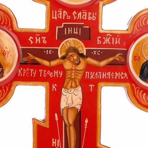Trefoil cross Russian icon, red s3