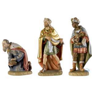 Tres Reyes Magos 12 cm madera pesebre mod. Valgardena s1