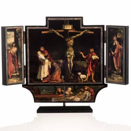 Tríptico altar de Isenheim madera estampada 21x30 con ba s1