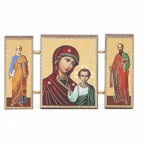 Triptyque russe bois application Kazanskaja 9,5x5,5 cm s1