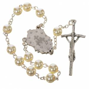Devotional rosaries: Trisagion, white with pastoral cross and Miraculous Medal