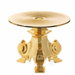 Basi per ostensorio: Tronetto in ottone dorato h 12 cm