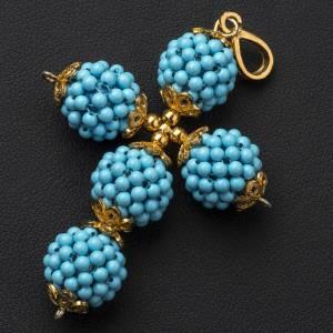 Turquoise cross pendant 1,5 cm pearls s2