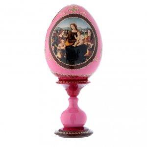 Uovo icona russa rossa découpage Madonna col bambino, San Giovannino e Angeli h tot 20 cm s1