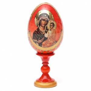 Uovo legno découpage Russia Iverskaya h tot. 13 cm stile Fabergé s1