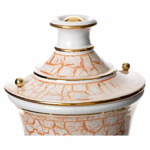 Urna cineraria cerámica blanco dorado s2