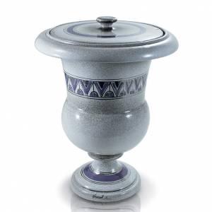 Urna cineraria en cerámica decoración azul s1