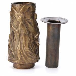 Vase fleur cimetière laiton bronzé avec bac s4