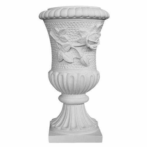 Vase sur pied pour tombe roses marbre synthétique s1