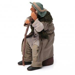 Vecchietto seduto con bastone 14 cm presepe Napoli s2