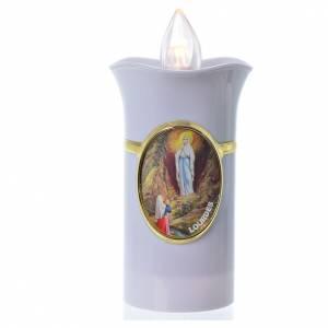 Velas votivas: Vela Lumada imagen Virgen de Lourdes blanco llama amarilla parpadeante