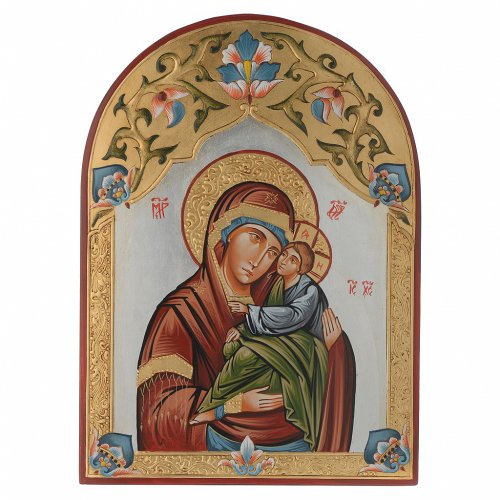 Icona Vergine della tenerezza decorata s1