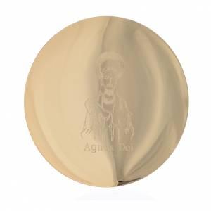 Metall Kelchen, Patenen, Ziborium: Vergoldete Patene aus Messing 14cm Angus Dei