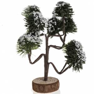 Moos, Stroh und Bäume für Krippe: Verschneites Bäumchen für Krippe 12cm groß