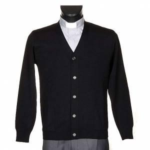 Vestes, gilets, pullovers: Veste en laine avec boutons,noir