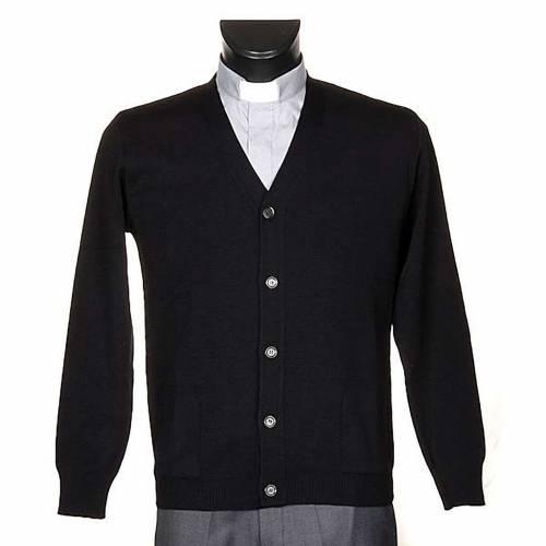 Veste en laine avec boutons,noir s1
