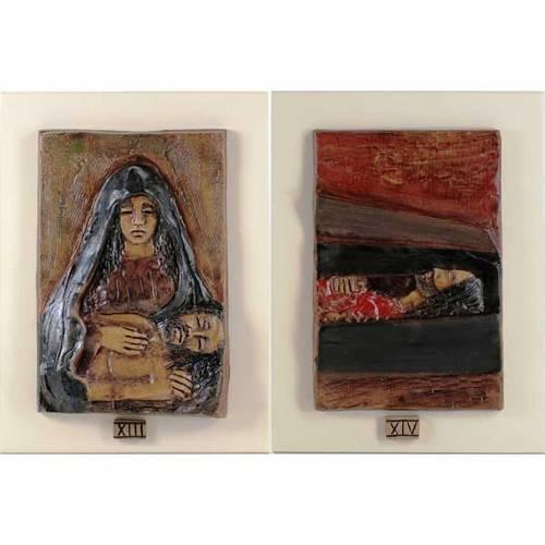 Via Crucis 14 stations majolique cuir sur bois ivoire s8