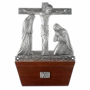 Vía Crucis 15 estaciones base de madera bronce plateado s12