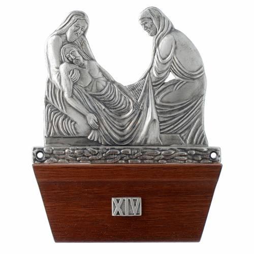 Vía Crucis 15 estaciones base de madera bronce plateado s14