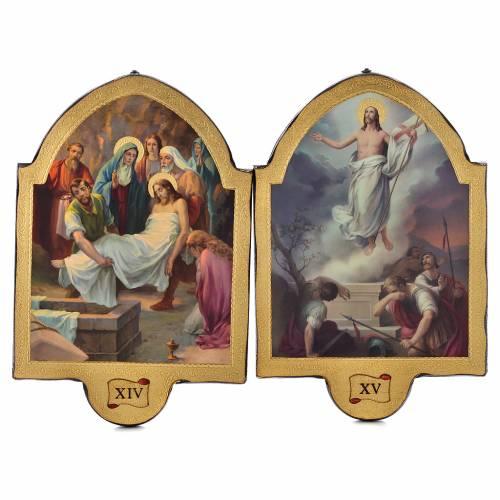 Via Crucis 15 stazioni 50x38 stampa su legno sgusciata s8