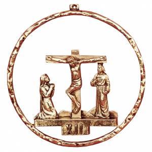 Via Crucis 15 stazioni diametro 22 cm ottone dorato s1