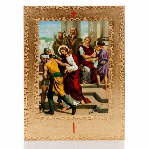Via Crucis 15 stazioni: tavole dorate in legno s1
