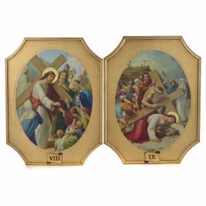 Via Crucis 15 tavole su legno sagomato foglia oro 52,5x35 s5