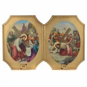 Via Crucis 15 tavole su legno sagomato foglia oro 52,5x35 s4