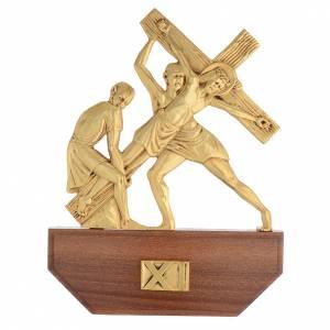Vía Crucis latón fundido 24x30 cm sobre base 15 es s13