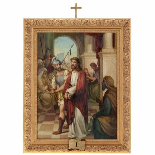 Via Crucis quadri legno tipo pittura 15 stazioni 1