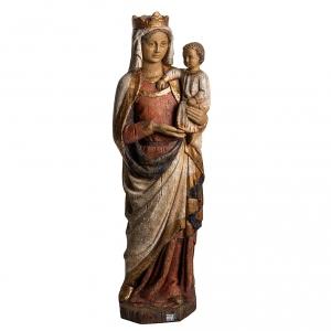 Vierge à l'enfant XIV siècle 75 cm bois Beth s5