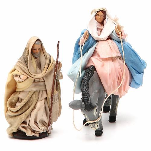 Vierge Marie en attente sur âne et St Joseph 8cm crèche Napolitaine s4