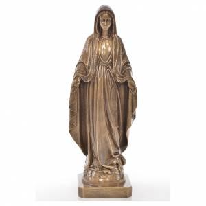 Statues en marbre reconstitué: Vierge Miraculeuse 50 cm extérieur poudre de marbre bronze
