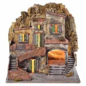 Village crèche avec fontaine 60x55x45 cm santons 10 cm s1