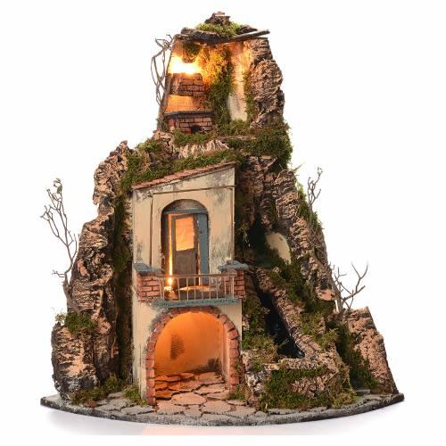 Village crèche napolitaine style 1700 angle chute d'eau 65x44x40 cm s1