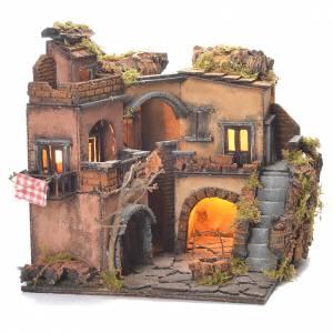 Village crèche napolitaine style 1700 avec puits 32x35x30 cm s6