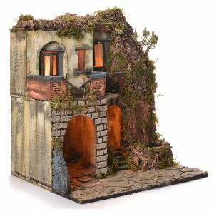 Village crèche napolitaine style 1700 latéral avec fontaine 50x40x50 cm s2