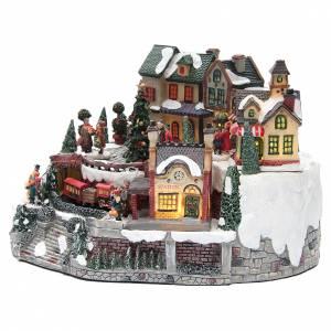 Villages de Noël miniatures: Village hivernal gare et train résine 35x25x20 cm