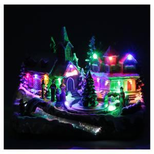 Villaggio Natalizio luci e movimento 30x15x20 cm s5