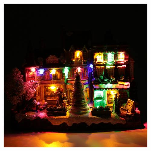 Villaggio natalizio luminoso musicale movimento albero natale 22X30X12 cm s4