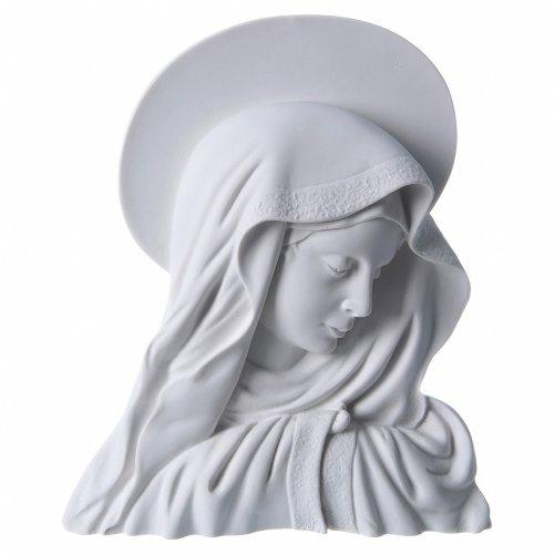 Virgen con la aureola de 28 cm en relieve mármol blanco s1