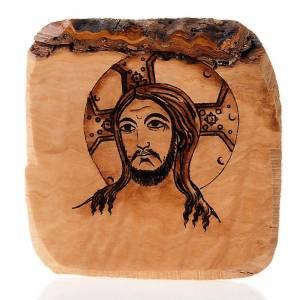 Visage de Jésus, planche en bois d'olivier Azur s1