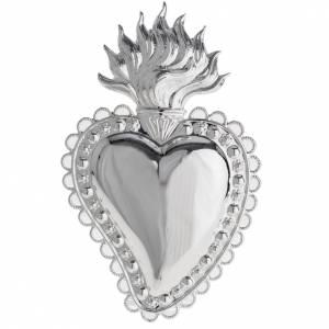Ex-Voto: Votive sacred heart with floral decoration 16x10cm