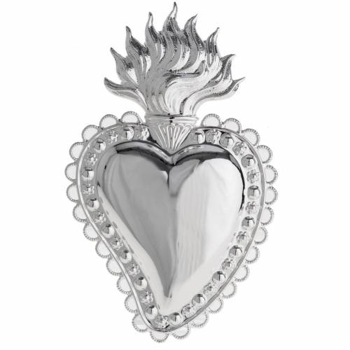 Votive sacred heart with floral decoration 16x10cm s1