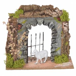 Wall in cork with gate for nativities, 14x15x6.5cm s1
