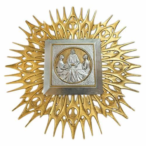 Wall tabernacle Jesus splits bread, brass s1