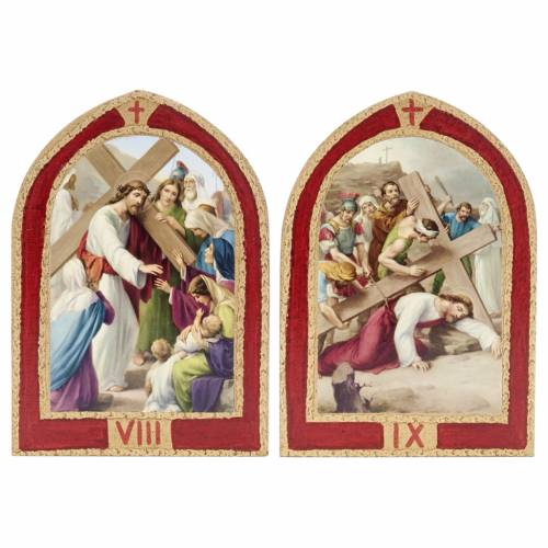 Way of the Cross printed on wood with a red frame, 15 stations 7