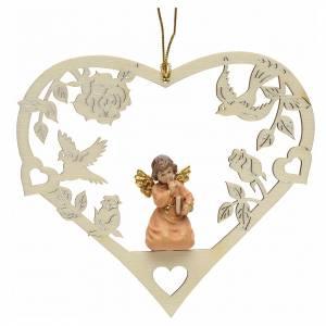 Christbaumschmuck aus Holz und PVC: Weihnachtsschmuck Herz Engel mit Buch aus Holz